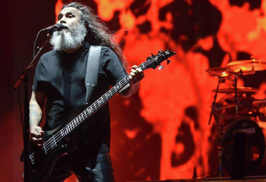 Tom Araya of Slayer performs during the 2014 Voodoo Music + Arts Experience at New Orleans City Park on October 31, 2014 in New Orleans, Louisiana. Photo: Tim Mosenfelder, Getty/AP / 2014 Tim Mosenfelder