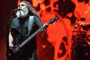 NEW ORLEANS, LA - OCTOBER 31:  Tom Araya of Slayer performs during the 2014 Voodoo Music + Arts Experience at New Orleans City Park on October 31, 2014 in New Orleans, Louisiana.  (Photo by Tim Mosenfelder/Getty Images)