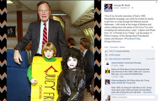 "In an obvious, albeit savvy, move to publicize his upcoming autobiography of his father, ""A Portrait of My Father"" (available Nov. 11), Bush posted a Facebook photo Friday of his daughters  Jenna Bush Hager and Barbara Pierce Bush trick-or-treating members of the press aboard a flight with their grandpa George H.W. Bush during a 1988 campaign swing through the Midwest."
