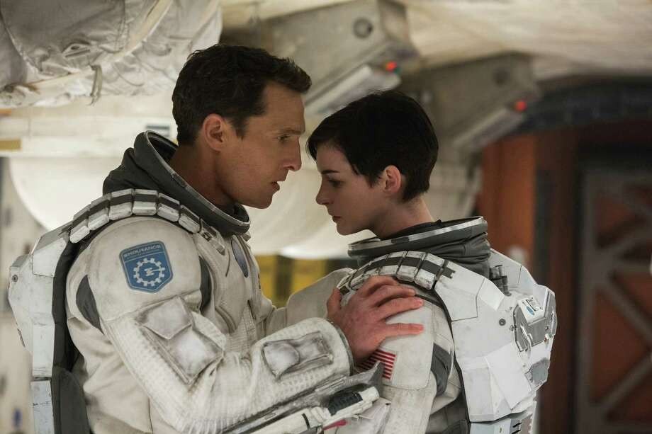 "This photo released by Paramount Pictures shows, Matthew McConaughey, left, and Anne Hathaway, in a scene from the film, '""Interstellar,"" from Paramount Pictures and Warner Brothers Pictures, in association with Legendary Pictures. (AP Photo/Paramount Pictures, Melinda Sue Gordon) Photo: Melinda Sue Gordon, Associated Press / Paramount Pictures"