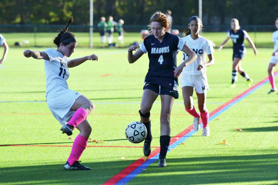 Dragons senior captain Olivia Lennon, right, of Southport, scored the lone goal in GFA's 1-0 win over King last week. Photo: Contributed Photo / Westport News Contributed