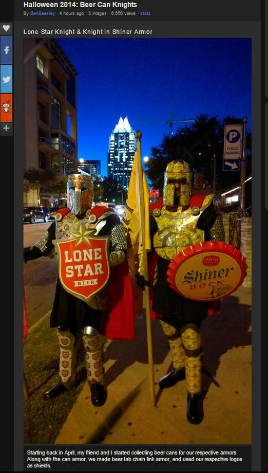 "Photos posted to Reddit Monday morning by user Beeslo showed awesome Halloween costumes. ""Over the past half year, my buddy and I collected Lone Star and Shiner beer cans. For Halloween, we went as The Knight in Shiner Armor and The Lone Star Knight."" Photos via imgur. Photo: Imgur"