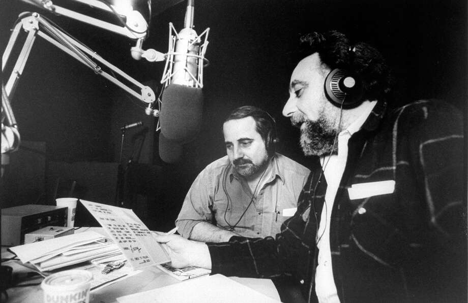"""Tom Magliozzi, right, and his brother Ray Magliozzi produce """"Car Talk,"""" the nationally syndicated car show on WBUR in Boston in 1989. Photo: Richard Howard, File Photo / Richard Howard"""
