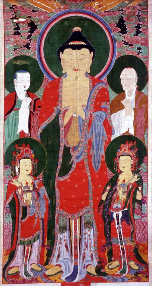 "The 23-foot-tall banner painting ""Vairocana Assembly,"" above, on hemp made in 1750, has never left Korea before and is unique to the Houston showing of ""Treasures From Korea."" Photo: Daeryeonsa Temple, Yesan"