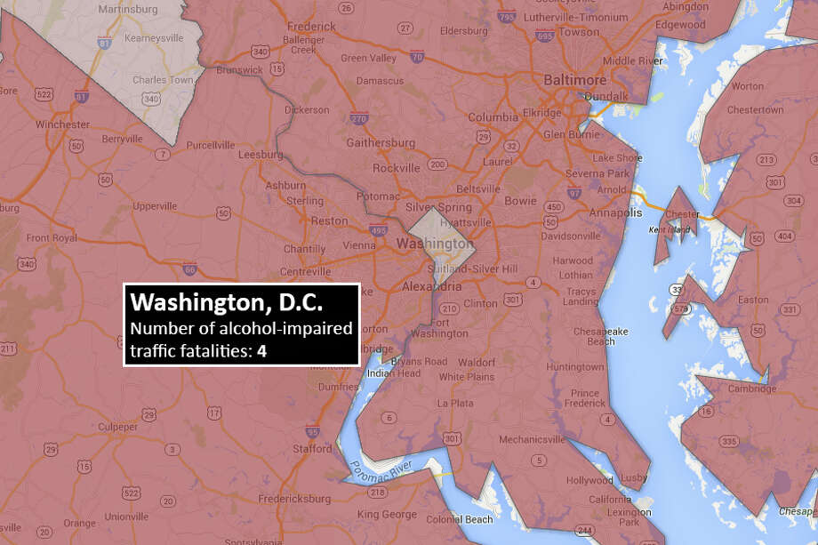 Washington, D.C.Number of alcohol-impaired traffic fatalities (blood alcohol content .08+)Data from the National Highway Traffic and Safety Administration's Traffic Safety Facts 2012 report. Photo: Data:NHTSA/Map:Chris Eudaily