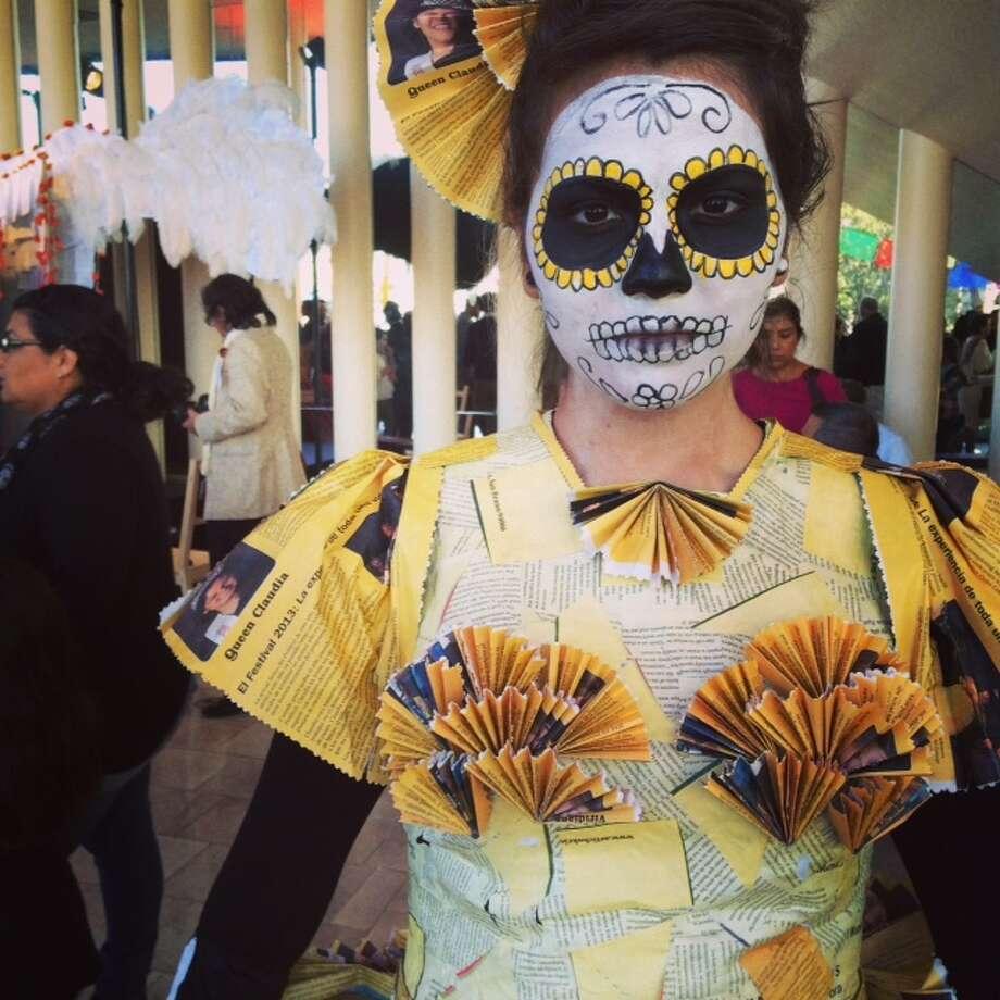 Dia de los Muertos dress designed by Veronica Escamez for Circulo Cultural of Redwood City