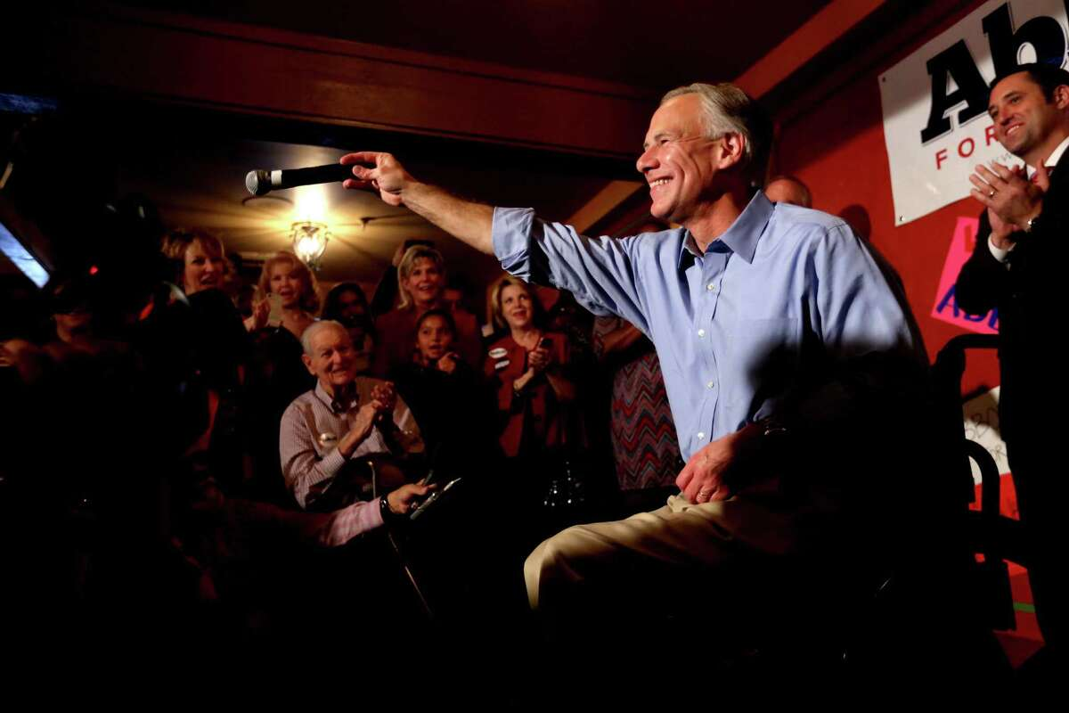 Republican gubernatorial candidate Greg Abbott was all smiles as he campaigned at Molina's Cantina on Monday in Houston.