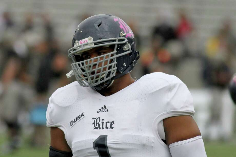 Rice Owls Christian Covington #1 in warmups against the Army Black Knights during a college football game on Saturday, October 11, 2014 in  West Point, NY. Rice won 41-21. (AP Photo/Gregory Payan) Photo: Gregory Payan, Associated Press / AP