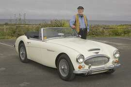 Photos of Lyle Eyer and his 1966 Austin Healey 3000 MKIII photographed at the Poplar Street Bluff Top Beach, Half Moon Bay, CA, on June 10, 2014.