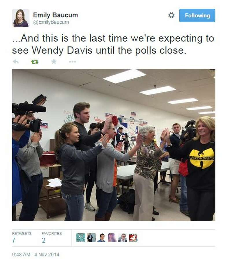 "Is Democratic gubernatorial candidate Wendy Davis finally bringing the (expletive) ruckus during the last day of the 2014 campaign?  The Twitterverse would seem to indicate ""yes.""  A Twitter photo by News 4 San Antonio reporter Emily Baucum shows the Fort Worth state senator donning a shirt with the hip hop group Wu-Tang Clan's logo and greeting supporters at a campaign stop in her hometown. Photo: Fechter, Joshua I, Twitter"