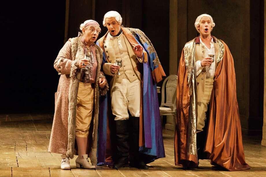 "Alessandro Corbelli, from left, Norman Reinhardt and Jacques Imbrailo star in Houston Grand Opera's ""Cosi fan tutte."" Photo: Lynn Lane / Lynn Lane"