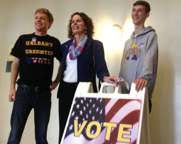 Assemblywoman Patricia Fahy joins College Democrats at the polling site at UAlbany on Tuesday, Nov. 4, 2014. (Cindy Schultz/Times Union)