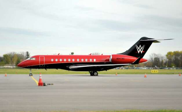 A view of the WWE jet seen here at Million Air on Tuesday, Nov. 4, 2014, in Albany, N.Y.  (Paul Buckowski / Times Union) Photo: Paul Buckowski / 00029348A