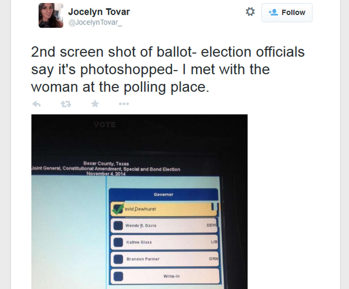 Greg Abbott tweeted this image of what appears to be a ballot that is missing his name. Election officials say the image appears to be doctored.