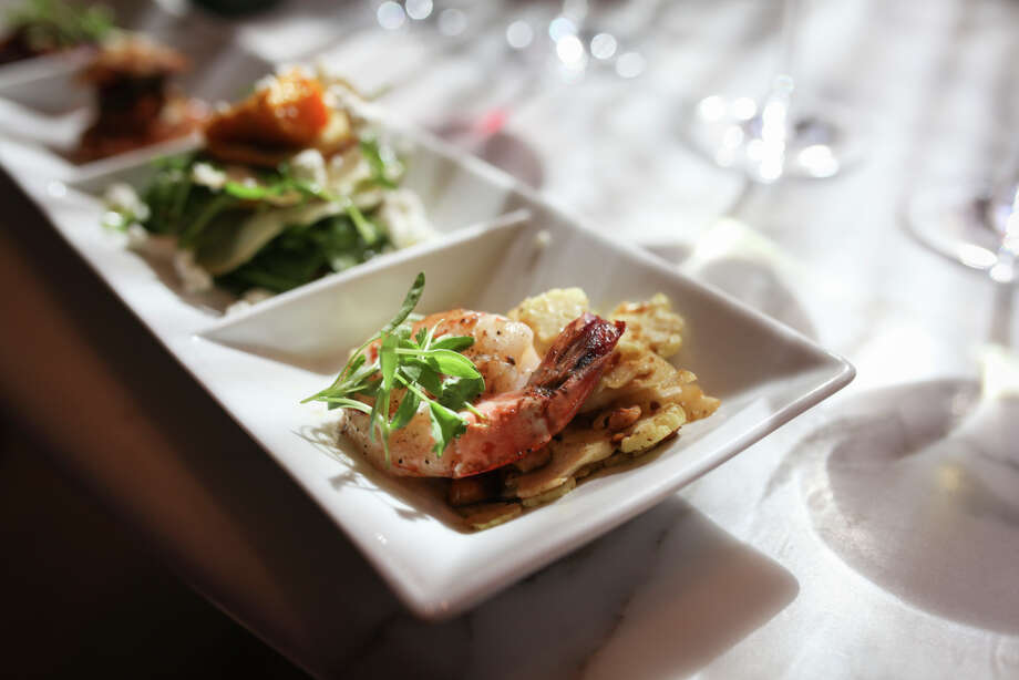 A shrimp dish is part of the Ram's Gate Palate Play tasting experience in Sonoma. The menu changes frequently, but guests can expect a full line of delicacies; $60 per person. Photo: Sam Wolson / Special To The Chronicle / ONLINE_YES