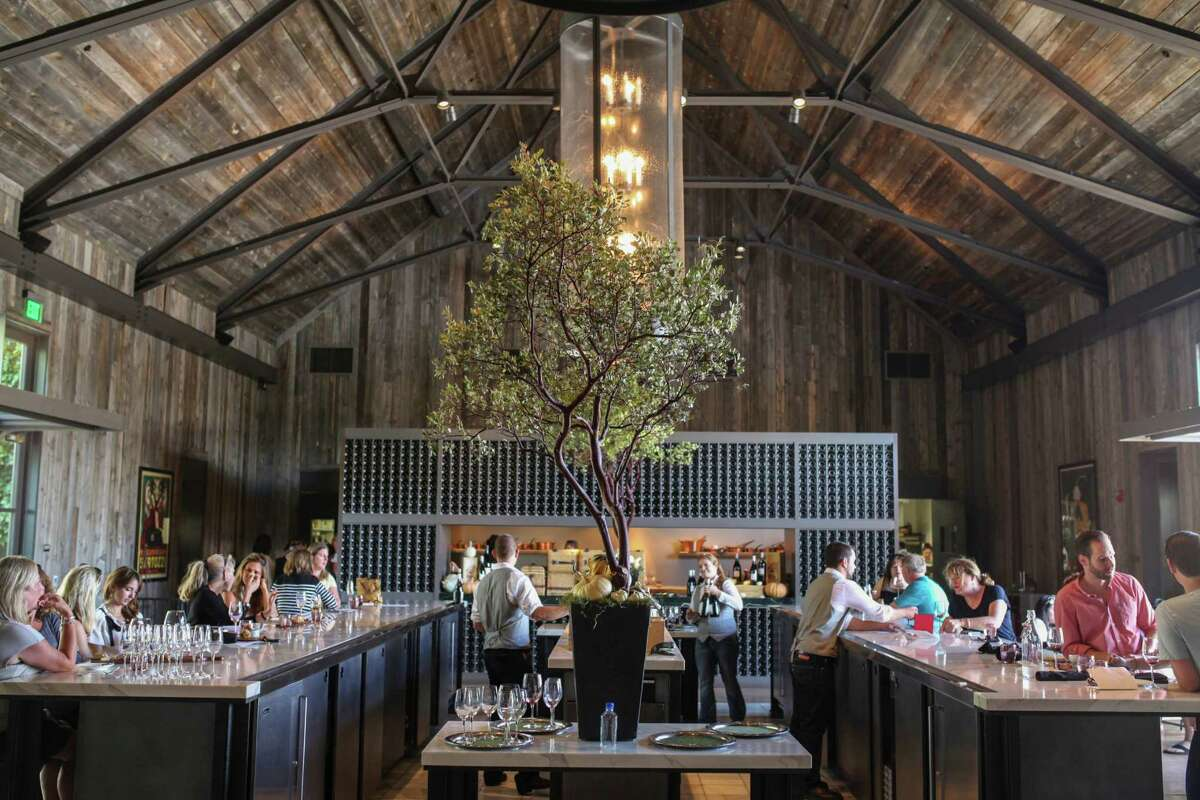 The bar at the Howard Backen-designed Ram's Gate in Sonoma, which offers picnics complete with a wicker basket of delicacies and a bottle of wine.