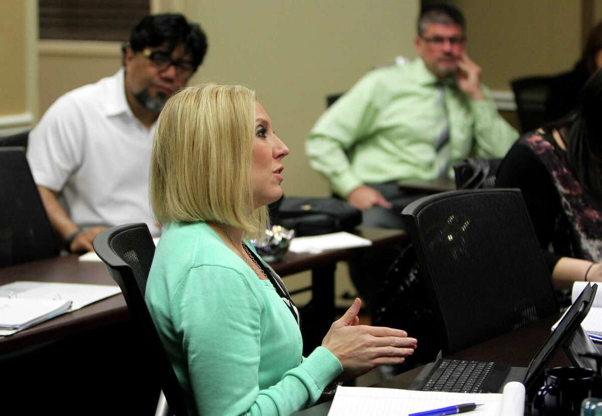 Celeste Deal, of ARF Financial, at a training session conducted by Brad Freyer, managing partner, at Sandler Training, professional sales & management training Monday, Oct. 6, 2014, in Houston, Texas.