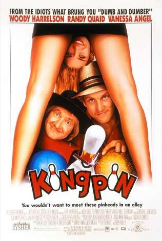 'Kingpin'- The Farrelly brothers dumb down and goof up pro bowling -- and gross us out in the process. After bowler Roy Munsen (Woody Harrelson) swindles the wrong crowd and is left with a hook for a hand, he settles into impoverished obscurity. That is, until he uncovers the next big thing: an Amish kid named Ishmael (Randy Quaid). So, the corrupt and the hopelessly naïve hit the circuit intent on settling an old score with Big Ern (Bill Murray). Available Nov. 1 Photo: Handout