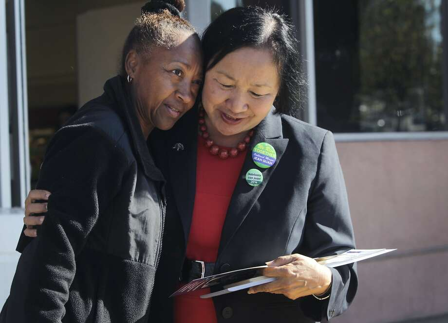 Juanita Montemayor hugs Oakland Mayor Jean Quan, who was encouraging grocery store shoppers on 51st Street to vote on Election Day in Oakland, Calif. on Tuesday, Nov. 4, 2014. Photo: Paul Chinn, The Chronicle