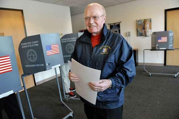 Sen. Hugh Farley votes on Election Day on Tuesday, Nov. 4, 2014, at the Jewish Community Center in Niskayuna, N.Y. (Cindy Schultz / Times Union) Photo: Cindy Schultz / 00029313A