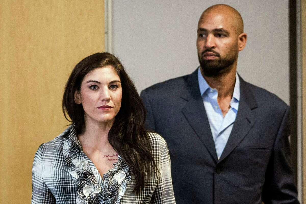 The state Court of Appeals rejected U.S. soccer star Hope Solo's attempt at avoiding a trial for her 2014 domestic violence charges.Here she's pictured in a Kirkland Municipal Court appearance in November 2014.