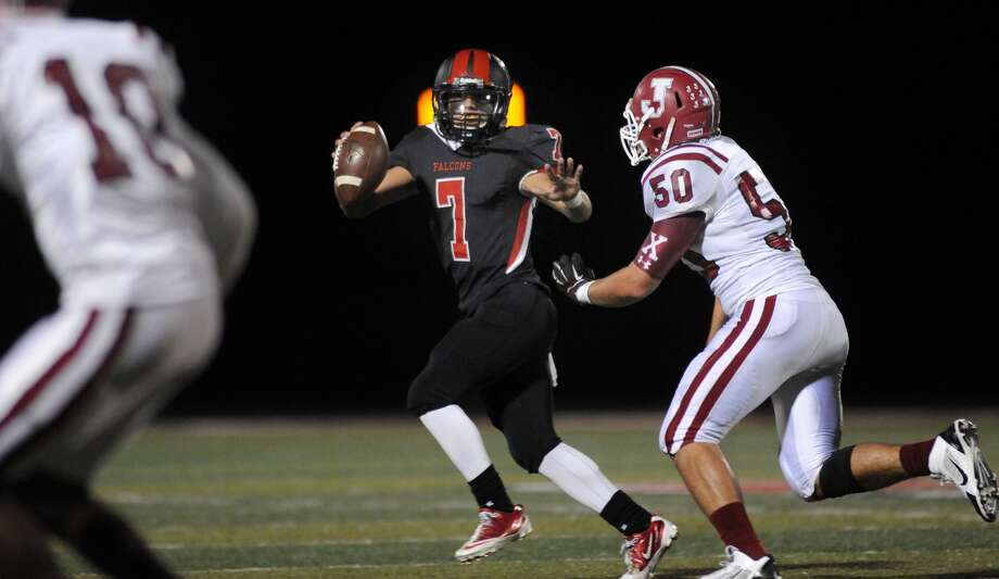 Huffman Hargrave quarterback Cody Gaitan will lead the Falcons against Tyler Chapel Hill in the UIL Class 4A playoffs Saturday. Photo: Jerry Baker, Freelance