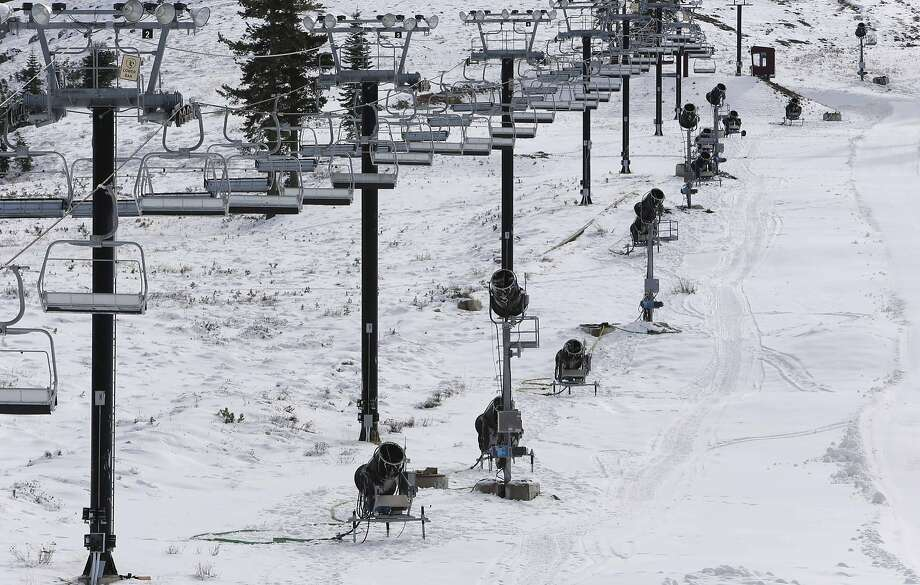 Snowmaking machines are lined up along a run at Boreal Ski Resort. Photo: Michael Macor, The Chronicle