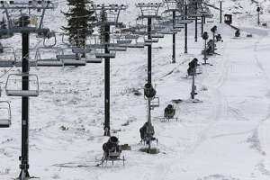Boreal Ski resort at Soda Springs, Calif., on Tuesday Nov 4, 2014, have their snow making machines lined up along a ski run in preparations of colder temperatures. With the recent snowfall in the Sierra Mountains near Lake Tahoe over the weekend ski resort operators are cautiously optimistic.