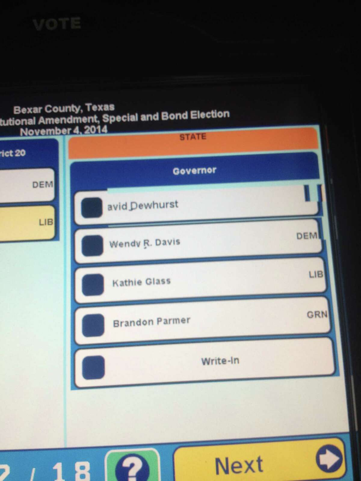Bexar County ballot that appears to show Republican candidate Greg Abbott's name missing.