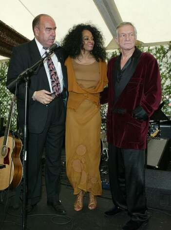 BEVERLY HILLS, CA - OCTOBER 16:  Co-Chairman Arthur Kassel, singer Diana Ross and Hugh Hefner are seen onstage at the 10th Annual Safari Brunch on October 16, 2004 at the Playboy Mansion in Beverly Hills, California.  (Photo by Frazer Harrison/Getty Images) Photo: Frazer Harrison, Getty Images / 2004 Getty Images
