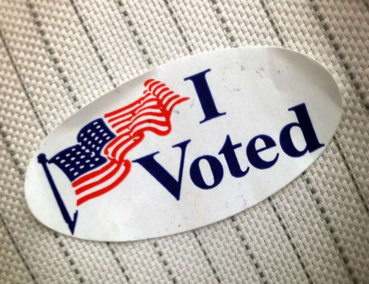 "An ""I Voted"" sticker shown that was given to a voter at polling place Tuesday, Nov. 4, 2014, in Pearland."