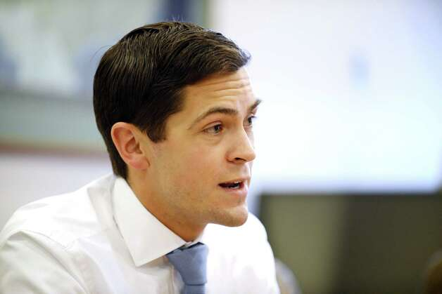 Sean Eldridge, Democrat running against incumbent Republican U.S. Rep. Chris Gibson for the 19th Congressional District seat, speaks to the Times Union editorial board Tuesday, Oct. 7, 2014, at the Times Union in Albany, N.Y. (Will Waldron/Times Union) Photo: WW / 10028928A