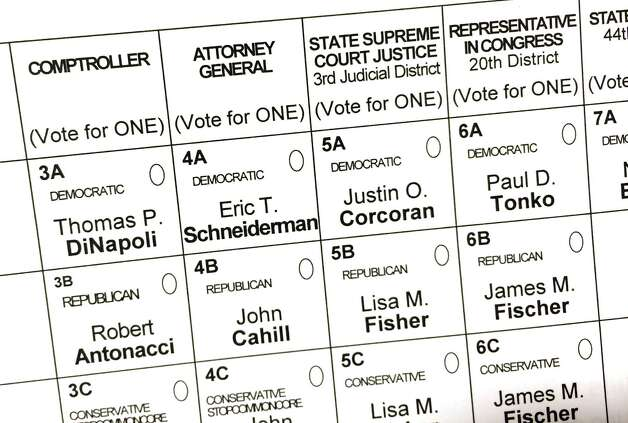 Ballot for Tuesdaya€™s state election, Nov. 4, 2014, at Town Hall in Delmar, N.Y. (Will Waldron/Times Union) Photo: WW