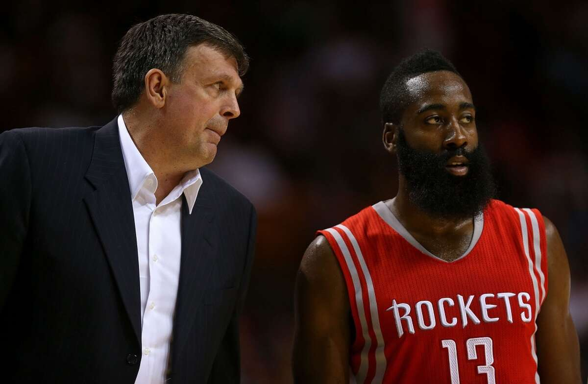 MIAMI, FL - NOVEMBER 04: Kevin McHale of the Houston Rockets talks with James Harden #13 during a game against the Miami Heat at American Airlines Arena on November 4, 2014 in Miami, Florida. NOTE TO USER: User expressly acknowledges and agrees that, by downloading and/or using this photograph, user is consenting to the terms and conditions of the Getty Images License Agreement. Mandatory copyright notice: (Photo by Mike Ehrmann/Getty Images)