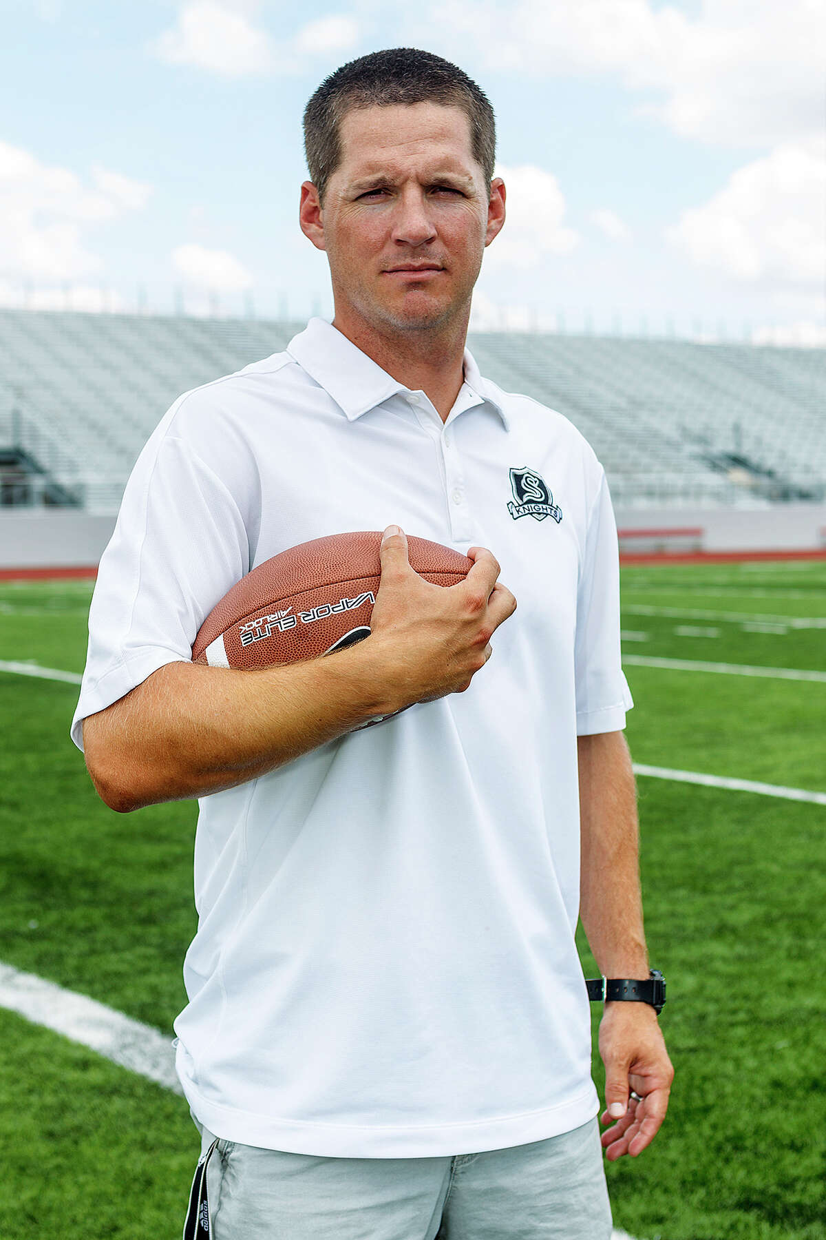 Scott Lehnhoff, the new head football coach at Steele High School, at Rutledge Stadium on Monday, Aug. 12, 2013. Lehnhoff replaces Mike Jinks who left to coach running backs at Texas Tech. Photo by Marvin Pfeiffer / Prime Time Newspapers