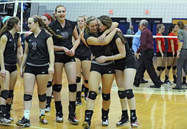 Burnt Hills celebrates after defeating Niskayuna to win the Class A Section II Girls' Volleyball Championship on Tuesday, Nov. 4, 2014 in Rensselaer, N.Y. (Lori Van Buren / Times Union) Photo: Lori Van Buren / 00029322A