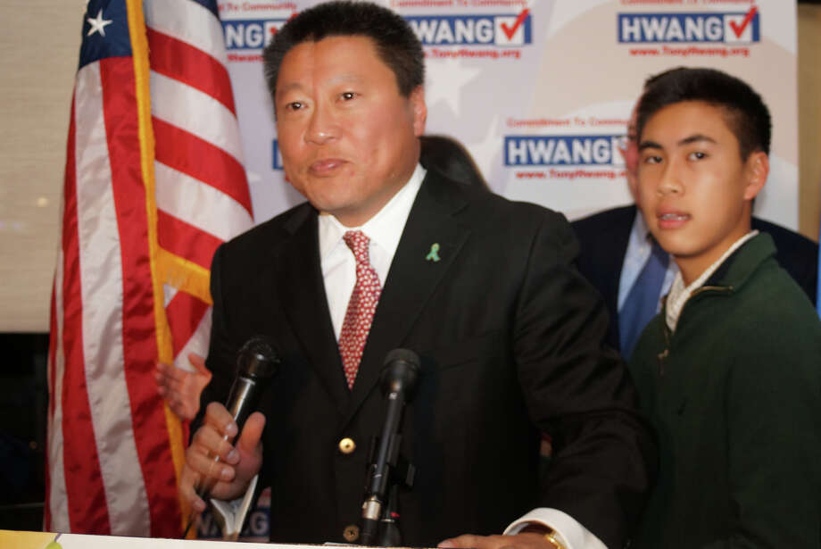 Republican Tony Hwang addresses party members Tuesday night at the Flipside Restaurant after unofficial, multi-town returns gave him an apparent victory in his 28th Senate District race against Democrat Kim Fawcett.The two Fairfield state representatives  squared off in a contest to succeed GOP state Sen. John McKinney. Photo: Genevieve Reilly / Fairfield Cit / Fairfield Citizen