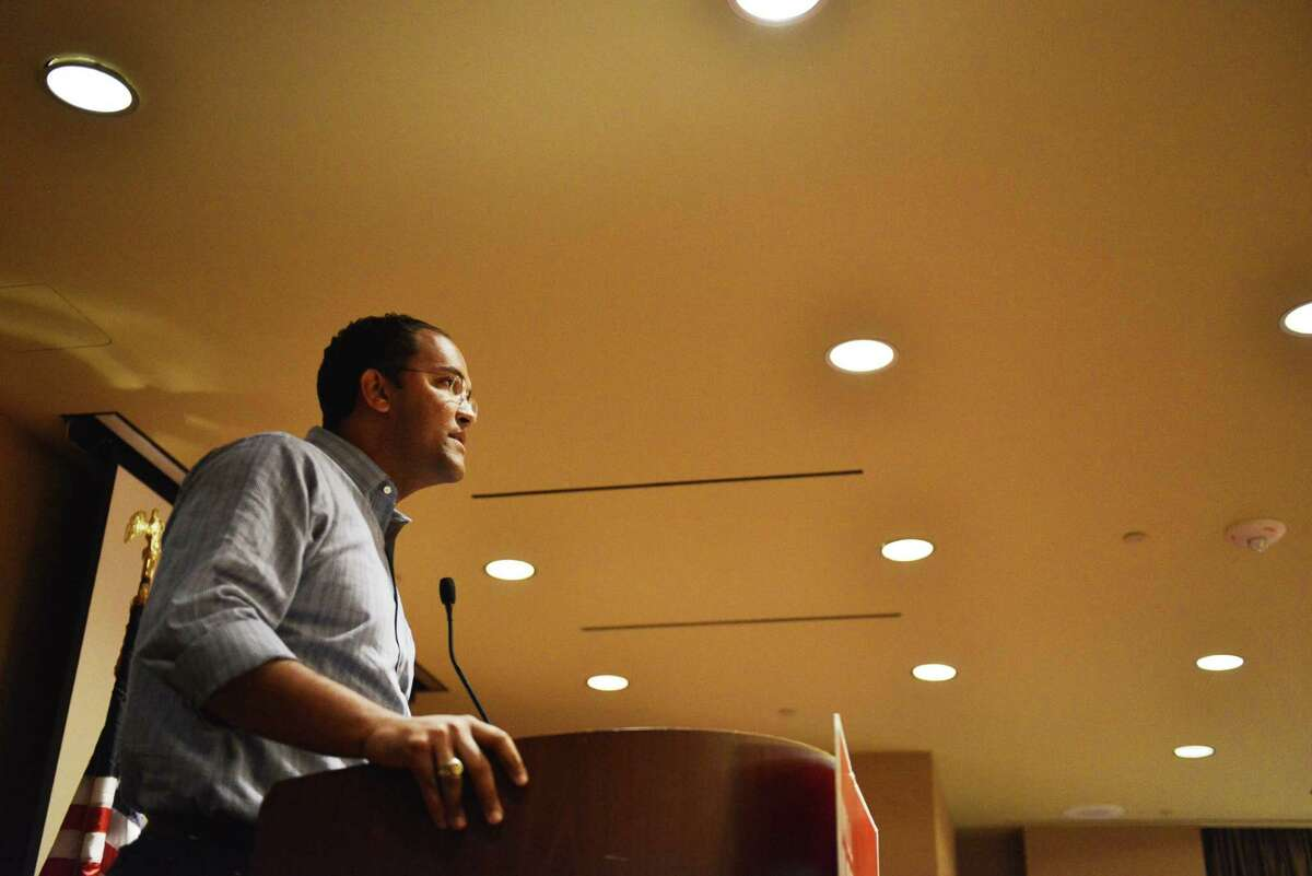 Republican challenger Will Hurd speaks to supporters and staff members before results are in during an election night watch party for Will Hurd, a Republican who's challenging U.S. Rep. Pete Gallego, D-Alpine, in U.S. House District 23, at Eilan Hotel Resort and Spa on Tuesday, November 4, 2014.