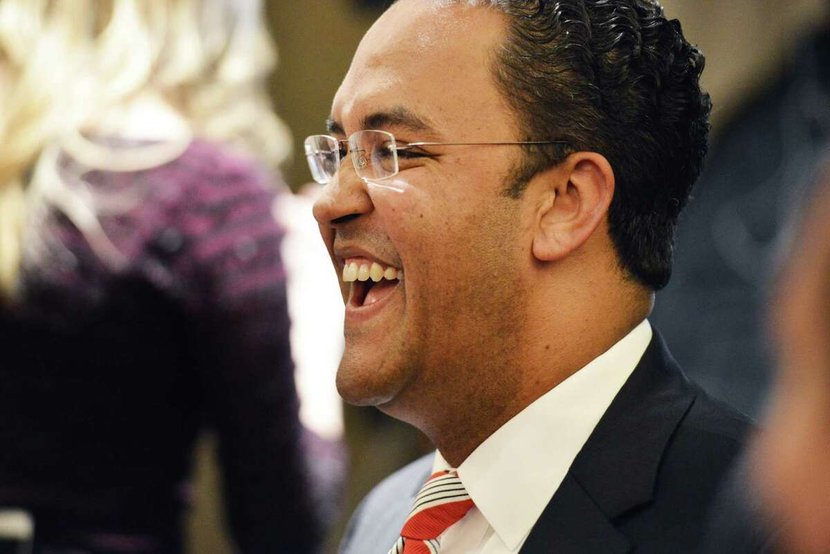 Republican challenger Will Hurd laughs during an election night watch party, who's challenging U.S. Rep. Pete Gallego, D-Alpine, in U.S. House District 23, at Eilan Hotel Resort and Spa on Tuesday, November 4, 2014.
