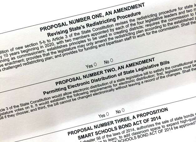 Ballot to decide state propositions in Tuesdaya€™s election, Nov. 4, 2014, at Town Hall in Delmar, N.Y. (Will Waldron/Times Union) Photo: WW
