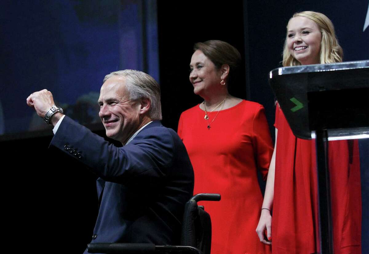 Texas Governor elect Greg Abbott gestures to the audience at the GOP election night party in Austin on Tuesday, Nov. 4, 2014.