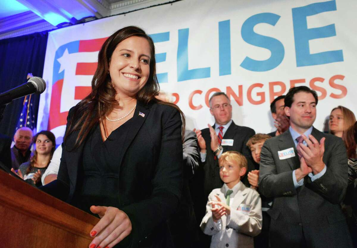 Republican Elise Stefanik thanks supporters after winning the 21st Congressional District Tuesday Nov. 4, 2014, in Glens Falls, NY. (John Carl D'Annibale / Times Union)