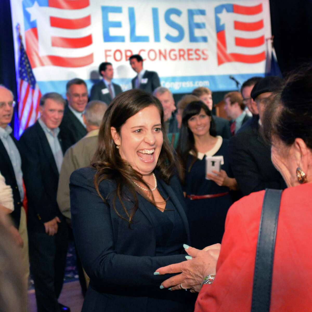 Republican Elise Stefanik greets supporters after winning the 21st Congressional District Tuesday Nov. 4, 2014, in Glens Falls, NY. (John Carl D'Annibale / Times Union)