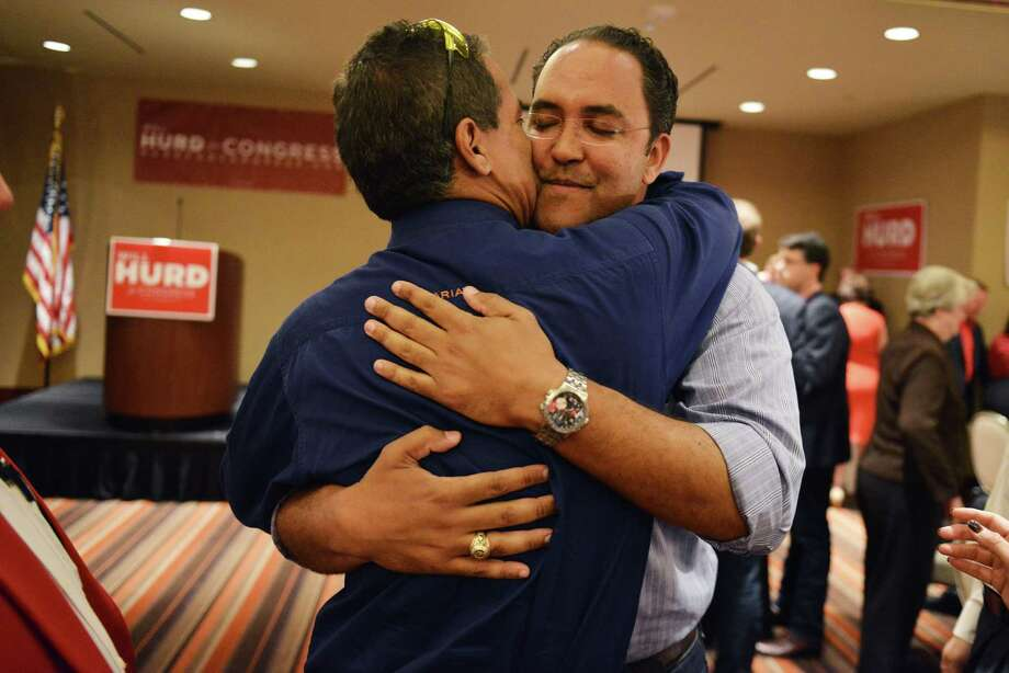 Republican challenger Will Hurd gets a hug from long-time friend Stephen Wing during an election night watch party for Will Hurd, a Republican who's challenging U.S. Rep. Pete Gallego, D-Alpine, in U.S. House District 23, at Eilan Hotel Resort and Spa on Tuesday, November 4, 2014. Photo: Matthew Busch / © San Antonio Express-News