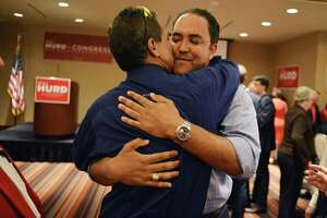 Republican challenger Will Hurd gets a hug from long-time friend Stephen Wing during an election night watch party for Will Hurd, a Republican who's challenging U.S. Rep. Pete Gallego, D-Alpine, in U.S. House District 23, at Eilan Hotel Resort and Spa on Tuesday, November 4, 2014.