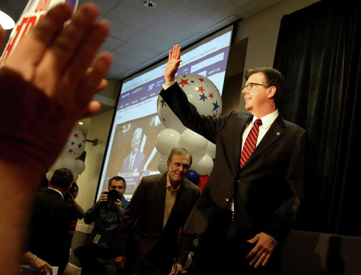 Texas republican candidate for lieutenant governor Dan Patrick waves to supporters as he acknowledges his win Tuesday, Nov. 4, 2014, in Houston. (AP Photo/Pat Sullivan)