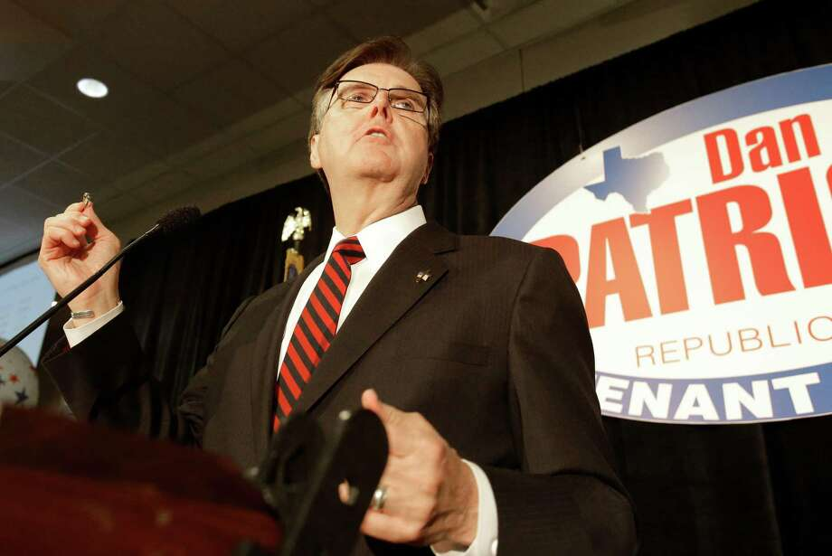 Texas republican candidate for lieutenant governor Dan Patrick makes a point as he acknowledges his win Tuesday, Nov. 4, 2014, in Houston. (AP Photo/Pat Sullivan) Photo: Pat Sullivan, Associated Press / AP