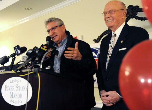 Assemblyman James Tedisco, left, introduces Senator Hugh Farley as Farley declares victory over challenger Madelyn Thorne in the New York State 49th Senate District seat on Tuesday Nov. 4, 2014 in Glenville, N.Y. (Michael P. Farrell/Times Union) Photo: Michael P. Farrell / 00029327A