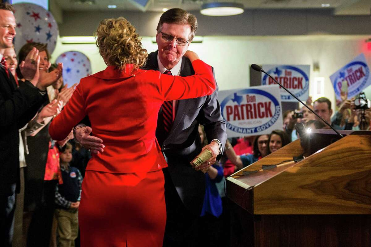 """Dan Patrick takes the stage Tuesday to proclaim victory at a party in Houston. """"It's important that we come together,"""" the lieutenant governor-elect said."""