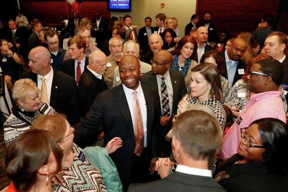 Sen. Tim Scott, R-S.C., greets supporters Tuesday after winning a full term to the Senate. Scott, who was appointed to the Senate in 2013, is the first Republican African-American from the South elected to the Senate since reconstruction.